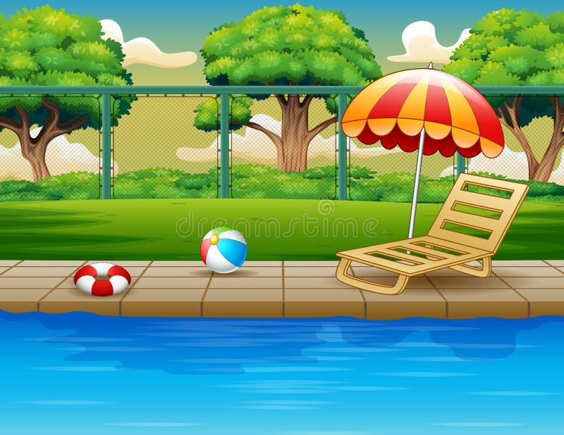 Открытый бассейн с lounger и игрушками фаэтона бесплатная иллюстрация