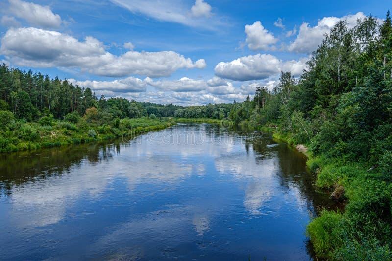 открытый взгляд к реке Gauja в Латвии с отражениями облака в воде стоковая фотография rf