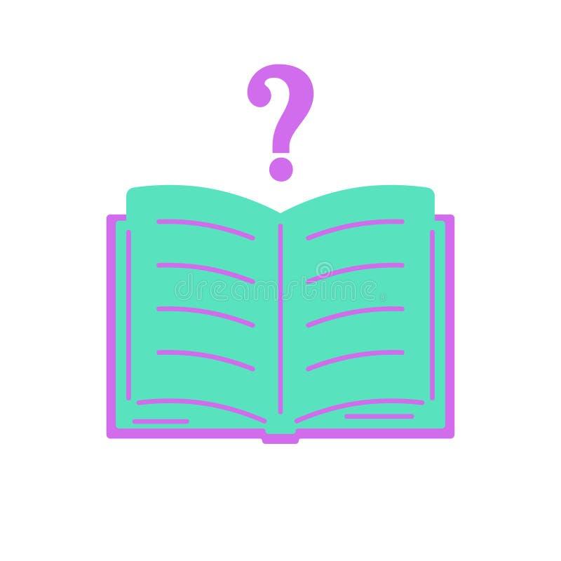 Открытый вопросительный знак книги Значок цвета в плоском стиле Дизайн символа Ч.З.В., помощи, уча иллюстрация штока