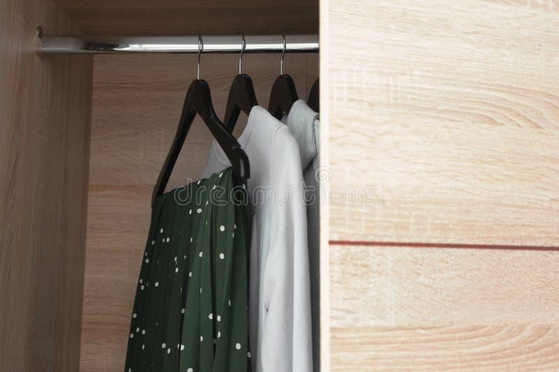 Открытый деревянный шкаф шкафа с одеждами стоковое фото rf