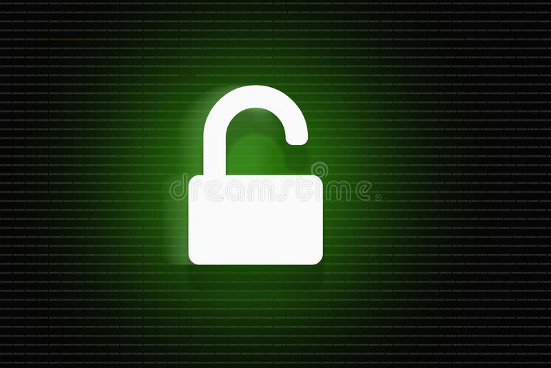 Открытый замок рубя концепцию, предпосылку безопасностью кибер иллюстрация штока