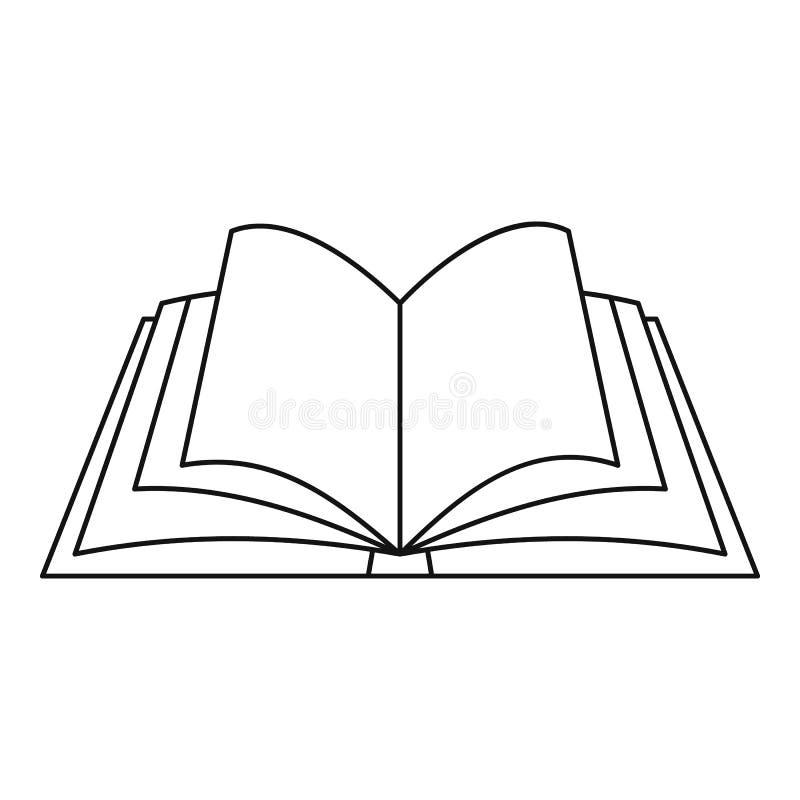 Открытый значок книги, стиль плана иллюстрация вектора