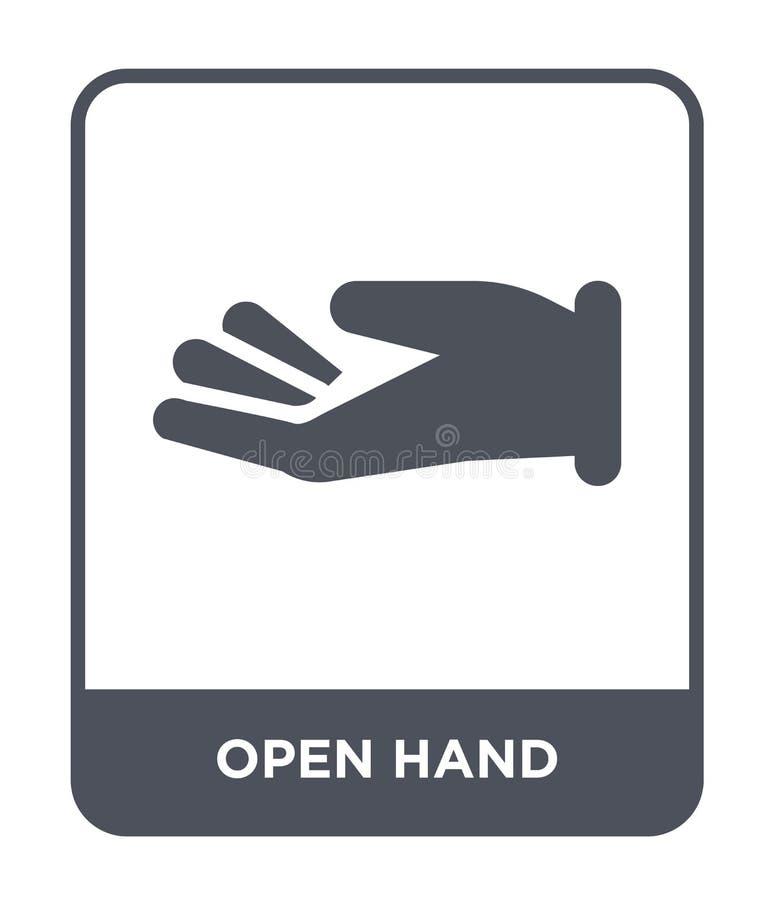 открытый значок руки в ультрамодном стиле дизайна открытый значок руки изолированный на белой предпосылке квартира открытого знач иллюстрация вектора