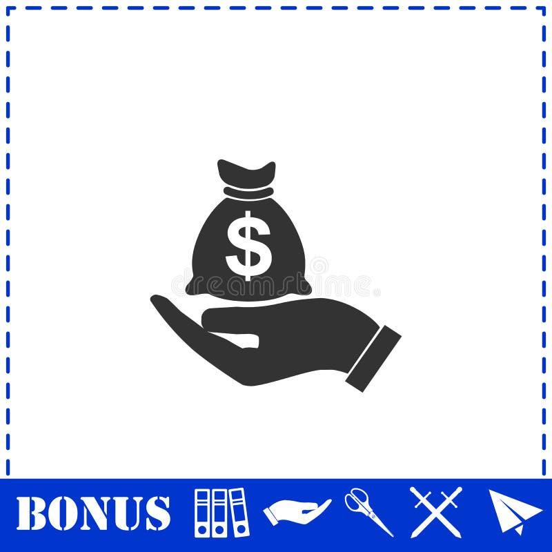 Открытый значок сумки денег владением ладони плоско иллюстрация штока