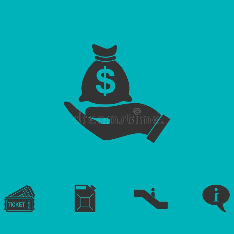 Открытый значок сумки денег владением ладони плоско бесплатная иллюстрация