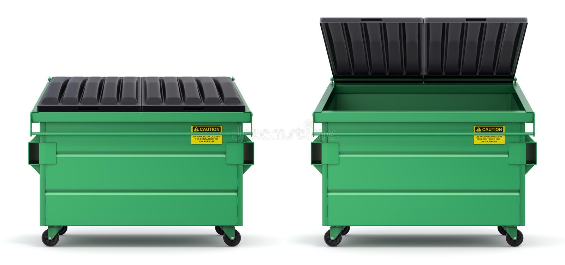 Открытый и закрытый зеленый мусорный контейнер иллюстрация вектора