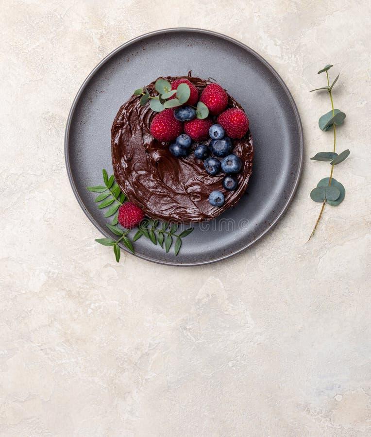 Открытый космос с шоколадным тортом на светлой предпосылке стоковое фото