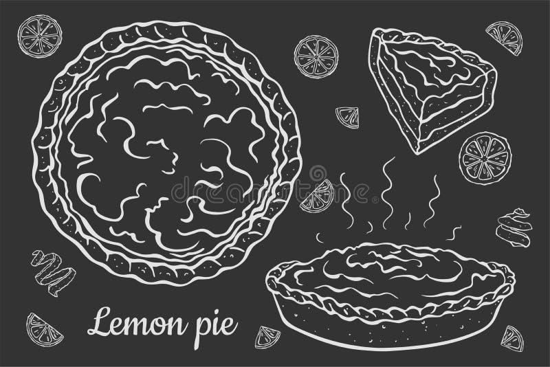 Открытый пирог лимона на черноте иллюстрация вектора