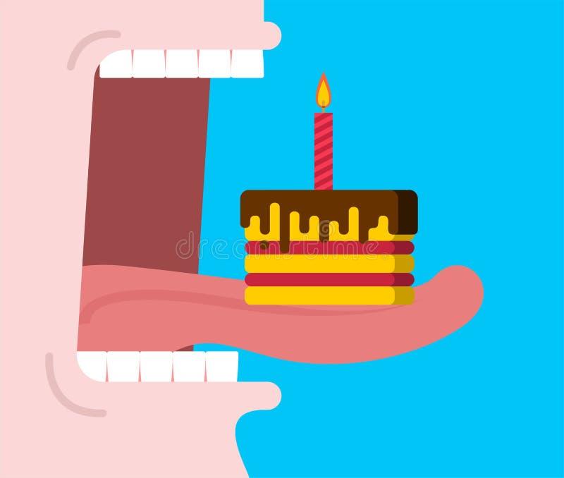 Открытый рот ест именниный пирог Кусок пирога с свечой Annive иллюстрация вектора