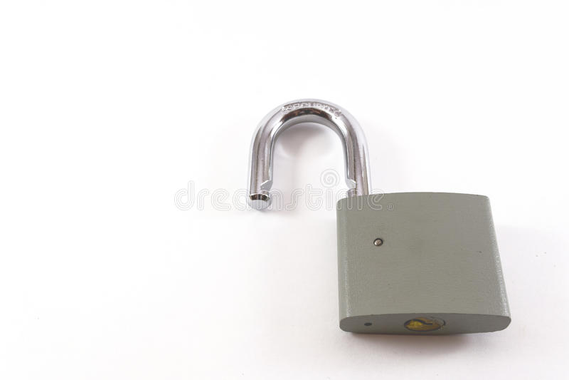 Открытый серый Padlock металла стоковая фотография rf