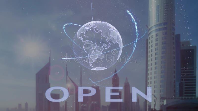 Открытый текст с hologram 3d земли планеты против фона современной метрополии иллюстрация вектора
