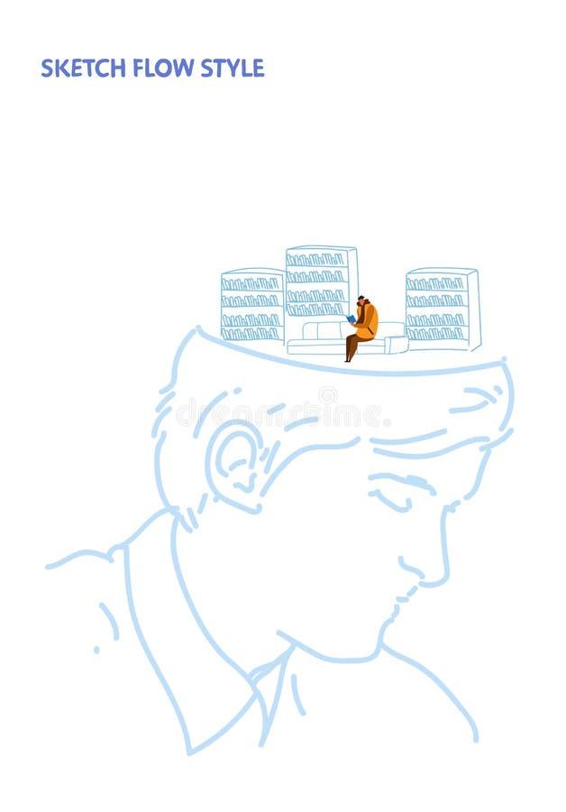 Открытый человеческий главный студент человека читает книгу сидя на образования библиотеки кресла эскизе концепции идеи современн бесплатная иллюстрация