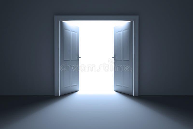 Открыть двери на белой предпосылке иллюстрация вектора