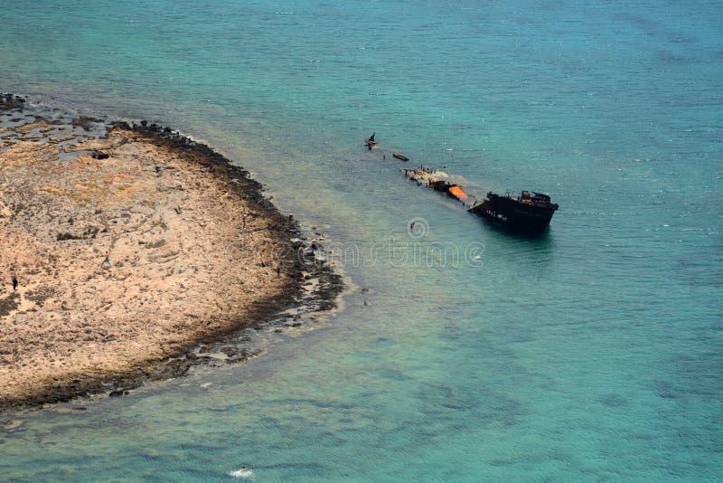 Отключение для того чтобы атаковать пиратами остров Gramvoussa Крит Греция стоковое изображение