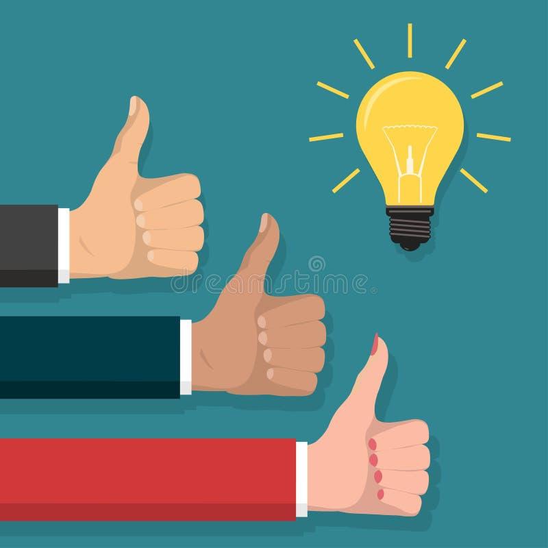 Отличная идея, большой палец руки вверх по символу, вектору стиля лампочки плоскому иллюстрация штока