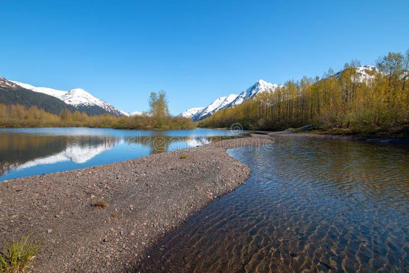 Отмель и берег на заболоченном месте квартир лосей и заводь Portage в руке Turnagain около Анкоридж Аляски США стоковые изображения