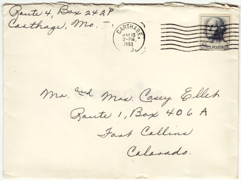 Отмененное конвертом 1963 письмо почтового сбора стоковые изображения rf