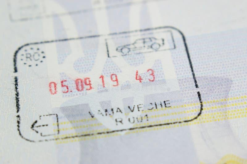 Отметка в паспорте таможни Румынии стоковые изображения rf
