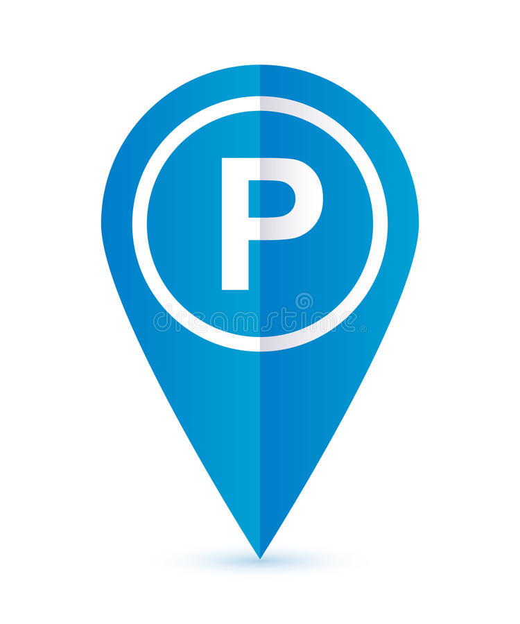 Отметка карты значка автостоянки голубая стоковое фото