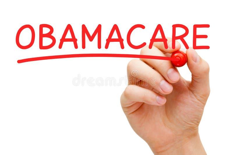 Отметка красного цвета ObamaCare стоковые фото