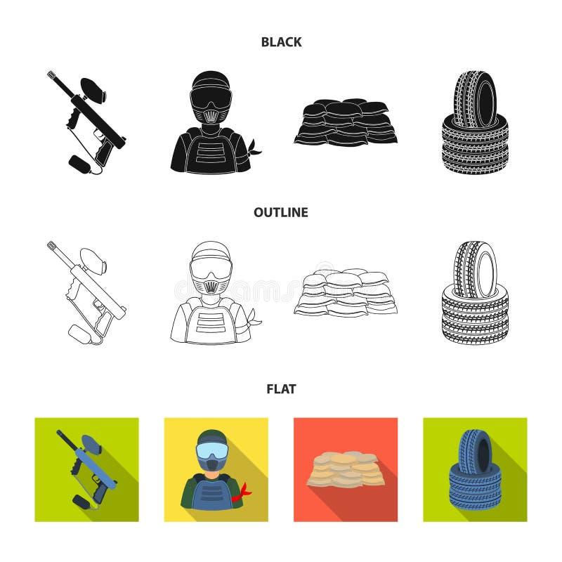 Отметка пейнтбола, игрок и другие аксессуары Значок пейнтбола одиночный в иллюстрации запаса символа вектора стиля шаржа иллюстрация вектора
