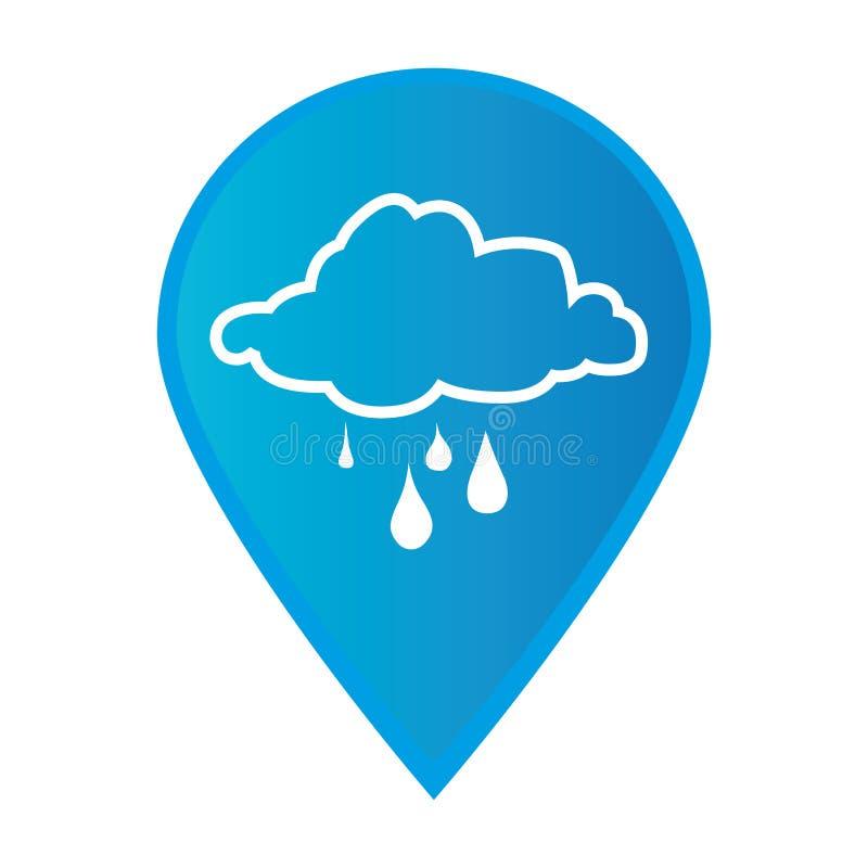 Отметьте gps указателя значка с значком облака силуэта ненастным иллюстрация штока