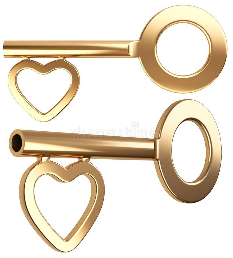 Отмычка золота с формой сердца иллюстрация штока