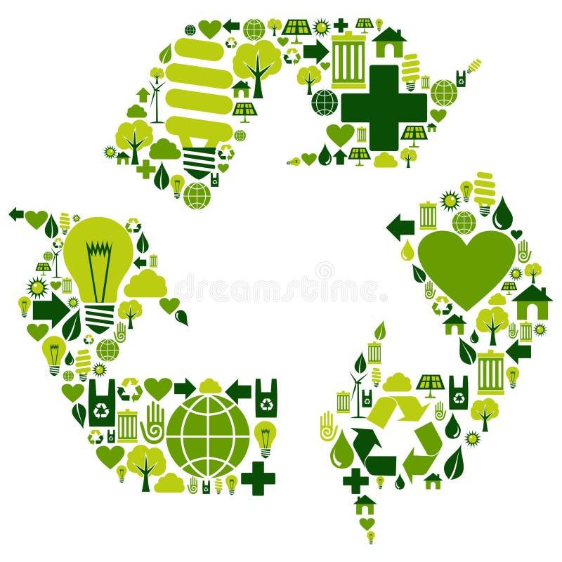 относящие к окружающей среде иконы рециркулируют символ иллюстрация штока
