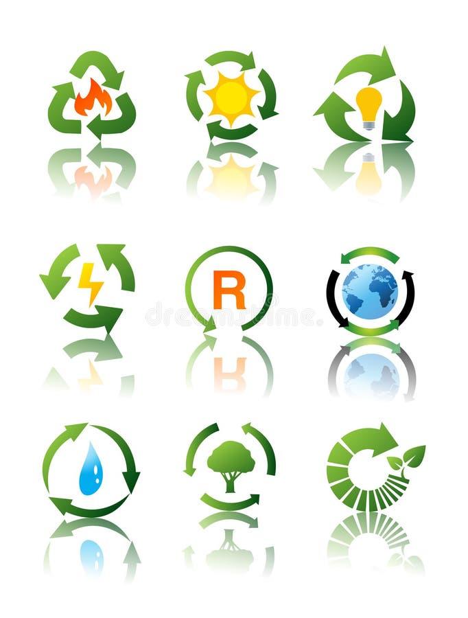 относящие к окружающей среде иконы рециркулируя комплект иллюстрация штока