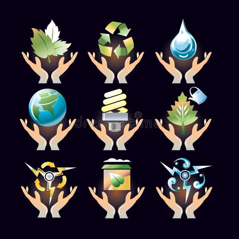 относящие к окружающей среде иконы иллюстрация вектора