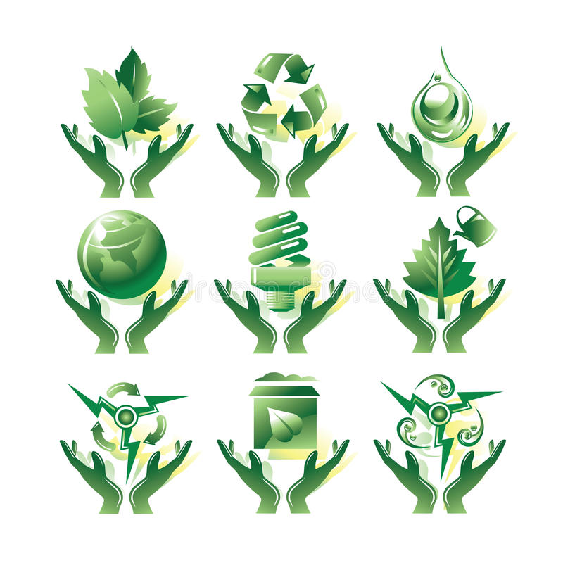 относящие к окружающей среде иконы иллюстрация штока