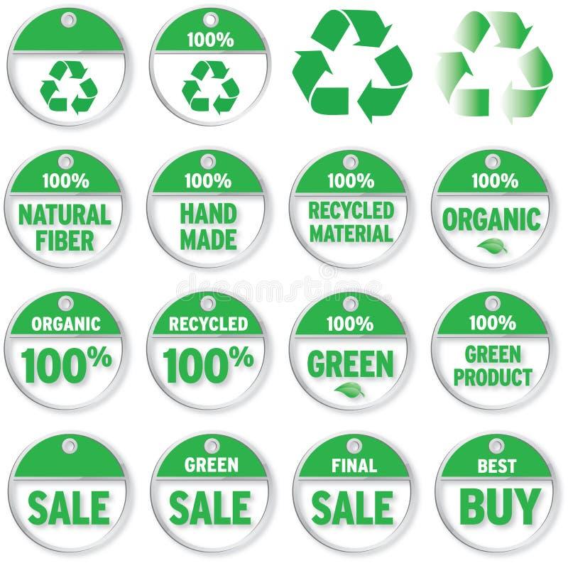 относящие к окружающей среде ценники иллюстрация вектора