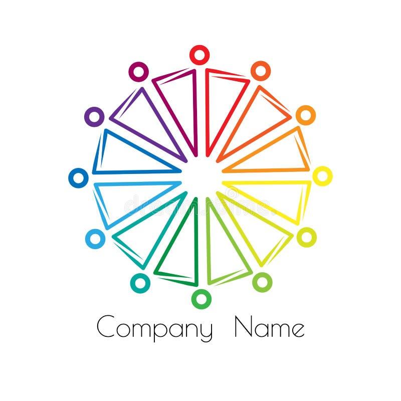 Отношения и равность логотипа радуги sociocultural стойка людей в круге держа руки бесплатная иллюстрация