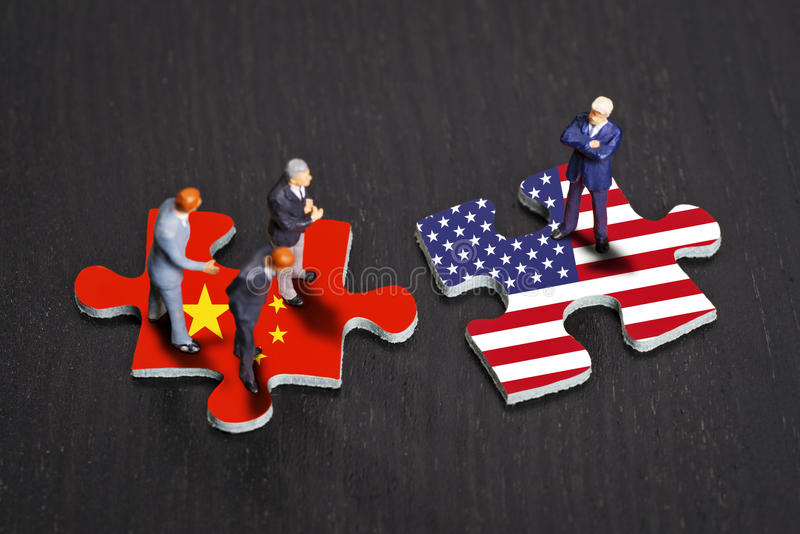 Отношения между Китаем и США стоковое изображение rf