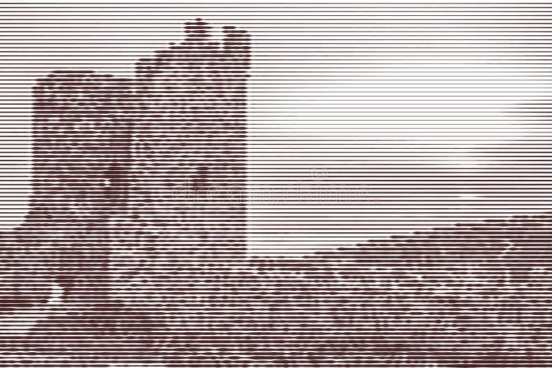 Отображайте коллаж руин древней крепости на заходе солнца для бесплатная иллюстрация