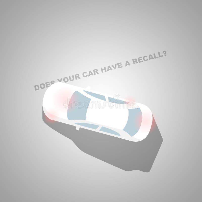 Отозвание автомобиля проверить внутри серый цвет - корабль - проверка автомобиля - автоматическая проблема иллюстрация штока