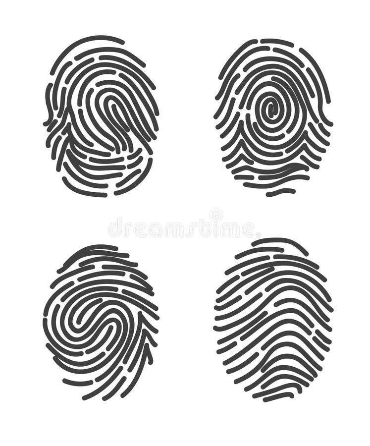 Отпечатки пальцев установили вектор значка иллюстрация вектора