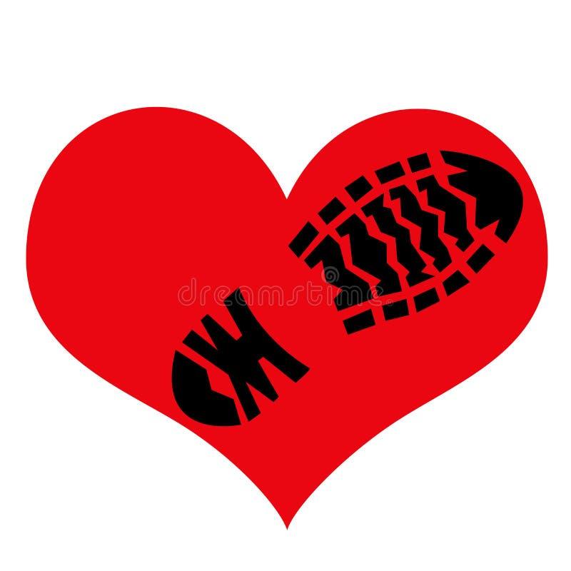 Отпечаток грубой подошвы ботинка на символе влюбленности стоковая фотография rf