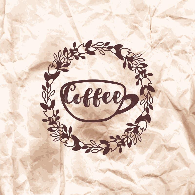 Отпечаток кофе штемпеля на скомканной предпосылке бумаги kraft бесплатная иллюстрация