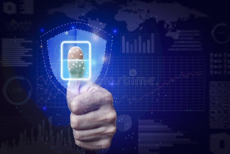 Отпечаток пальцев развертки бизнесмена обеспечивает доступ безопасностью стоковое изображение