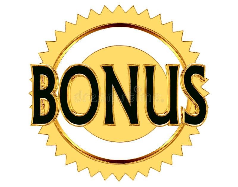 Отправьте СМС бонус на круге золота на белой предпосылке иллюстрация штока