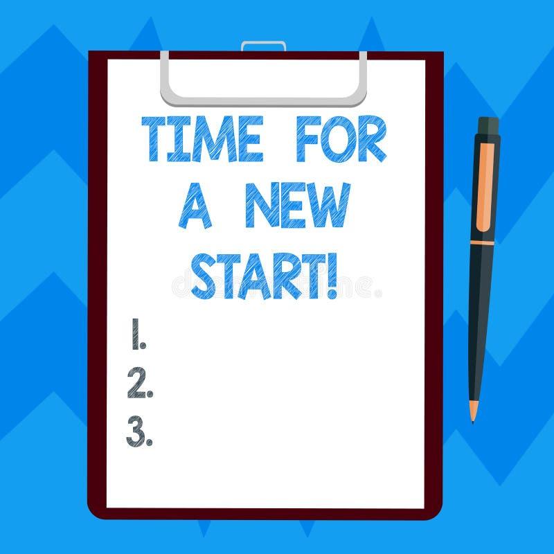 Отправьте СМС знак показывая время для нового старта Схематическое доверие фото волшебство чистого листа второго рождения начал с иллюстрация штока