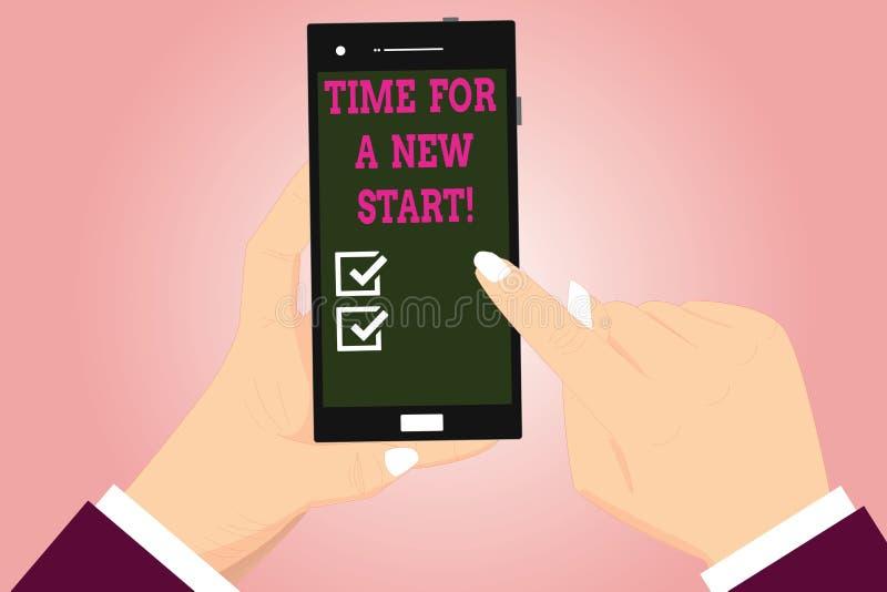 Отправьте СМС знак показывая время для нового старта Схематическое доверие фото волшебство анализа Hu второго рождения начал свеж иллюстрация штока