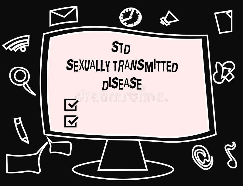 Отправьте СМС знак показывая заболевание Std сексуально - переданное Схематическая инфекция фото распространенная половым сношени иллюстрация штока