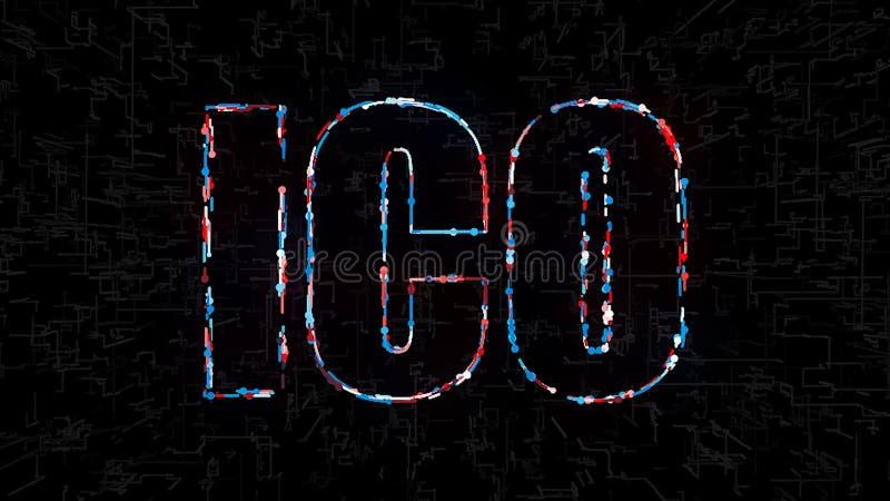 Отправьте СМС монетка предлагая с цифровыми элементами, компьютер ICO начальная перевода 3d производя фон иллюстрация вектора