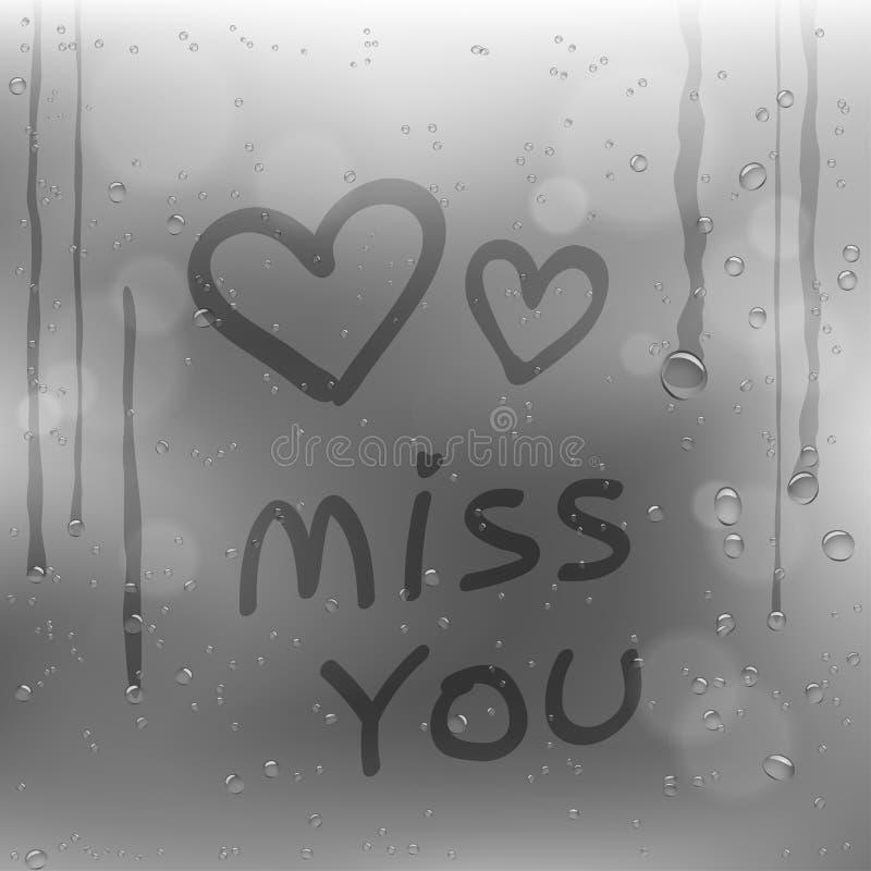 Отправьте СМС несоосность вы и сердца на ненастном окне иллюстрация штока