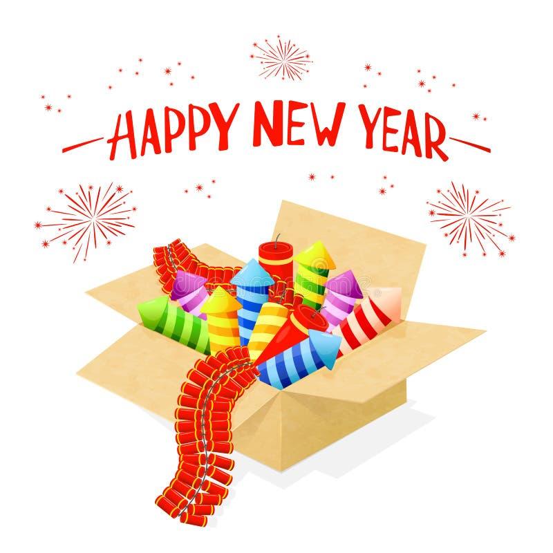 Отправьте СМС счастливые Новый Год и фейерверки в коробке иллюстрация вектора