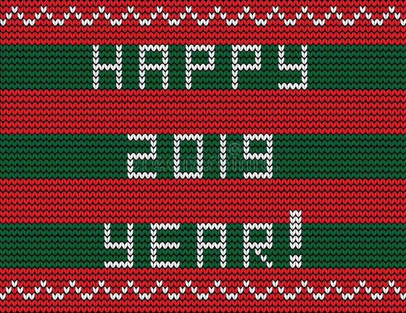 Отправьте СМС счастливый 2019 год на striped красном цвете и связанной зеленым цветом предпосылке бесплатная иллюстрация