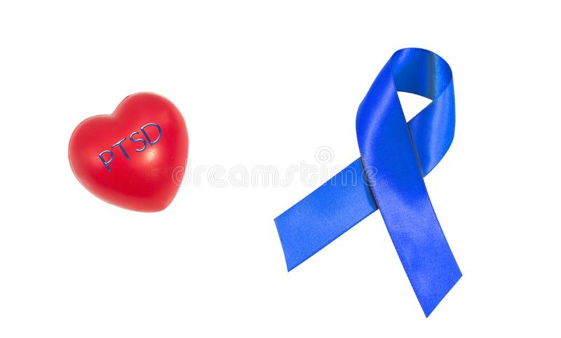 Отправьте СМС PTSD разлада стресса Posttraumatic на резиновом сердце стоковое изображение