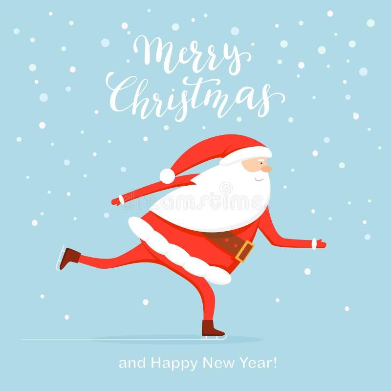 Отправьте SMS веселому рождеству и Санта катается на коньках иллюстрация вектора